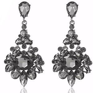 Prom Pageant BrIdal Jewelry - Grey Crystal Prom Pageant Chandelier Earrings